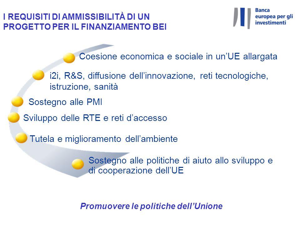Coesione economica e sociale in unUE allargata Sostegno alle PMI i2i, R&S, diffusione dellinnovazione, reti tecnologiche, istruzione, sanità Tutela e