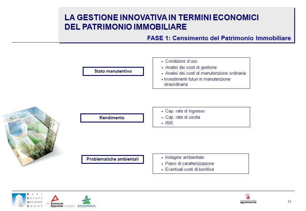 11 Condizioni d uso Analisi dei costi di gestione Analisi dei costi di manutenzione ordinaria Investimenti futuri in manutenzione straordinaria Stato