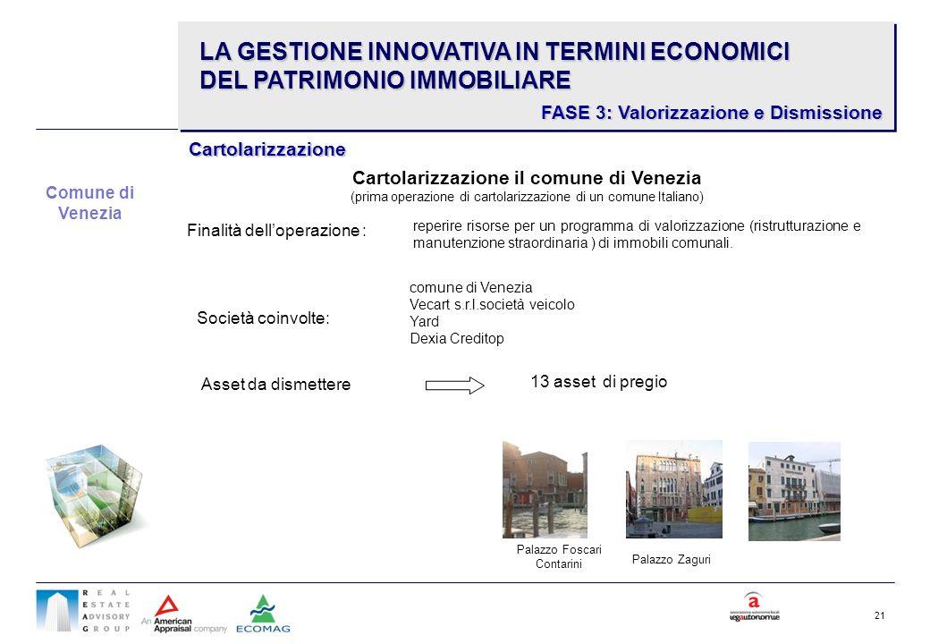 21 Cartolarizzazione il comune di Venezia (prima operazione di cartolarizzazione di un comune Italiano) Asset da dismettere 13 asset di pregio reperir