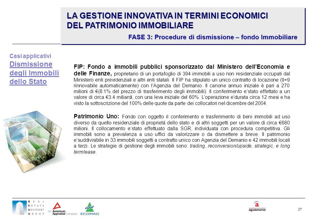 27 FIP: Fondo a immobili pubblici sponsorizzato dal Ministero dellEconomia e delle Finanze, proprietario di un portafoglio di 394 immobili a uso non r
