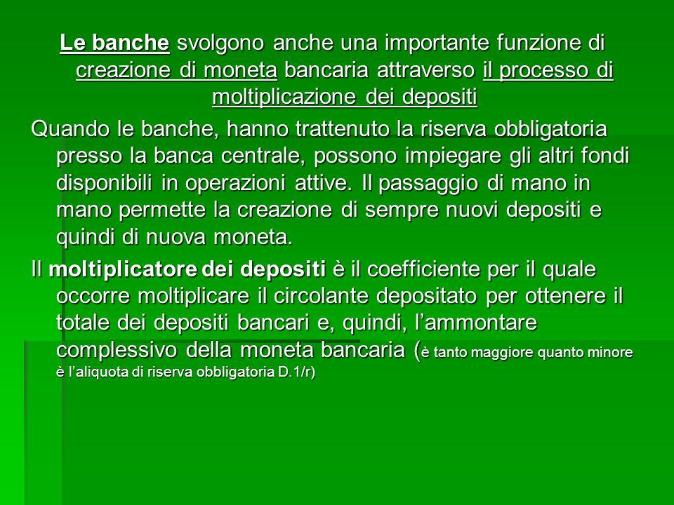 Le banche svolgono anche una importante funzione di creazione di moneta bancaria attraverso il processo di moltiplicazione dei depositi Quando le banc