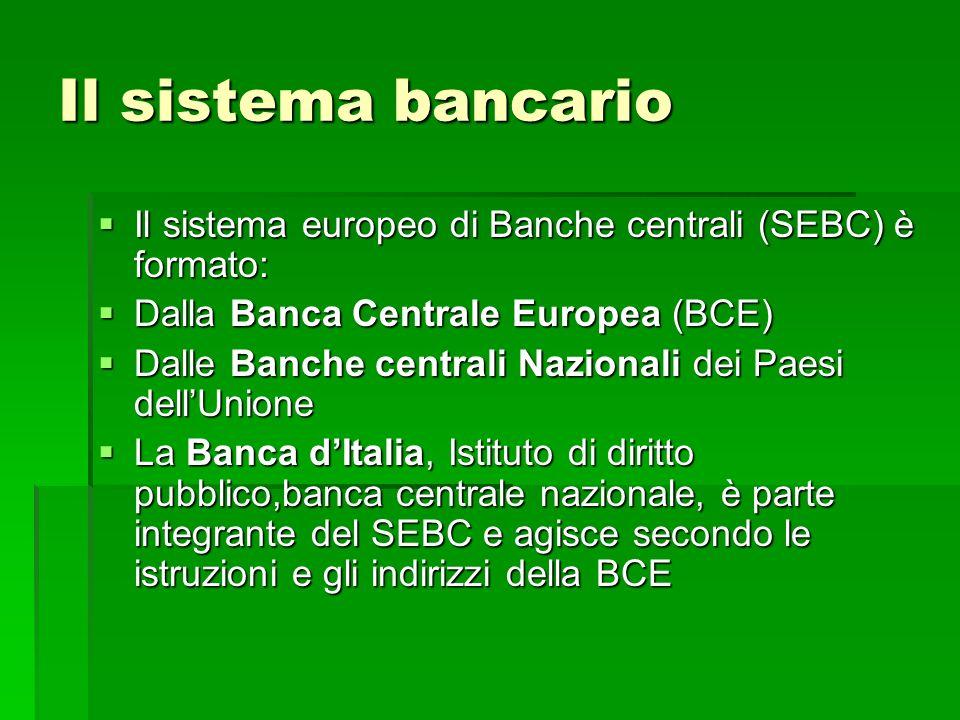 Il sistema bancario Il sistema europeo di Banche centrali (SEBC) è formato: Il sistema europeo di Banche centrali (SEBC) è formato: Dalla Banca Centra