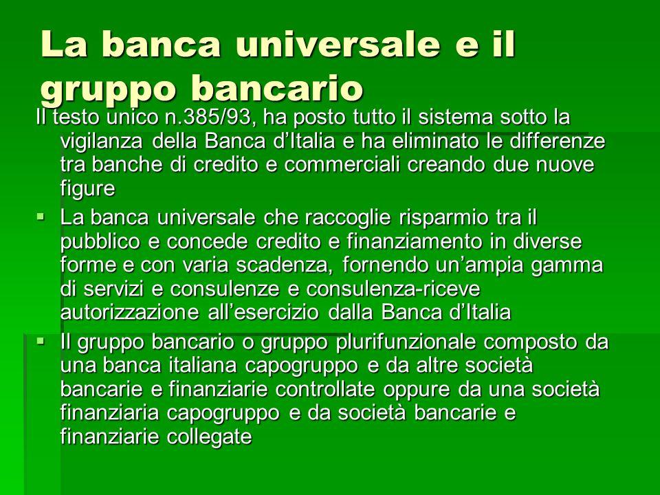 La banca universale e il gruppo bancario Il testo unico n.385/93, ha posto tutto il sistema sotto la vigilanza della Banca dItalia e ha eliminato le d