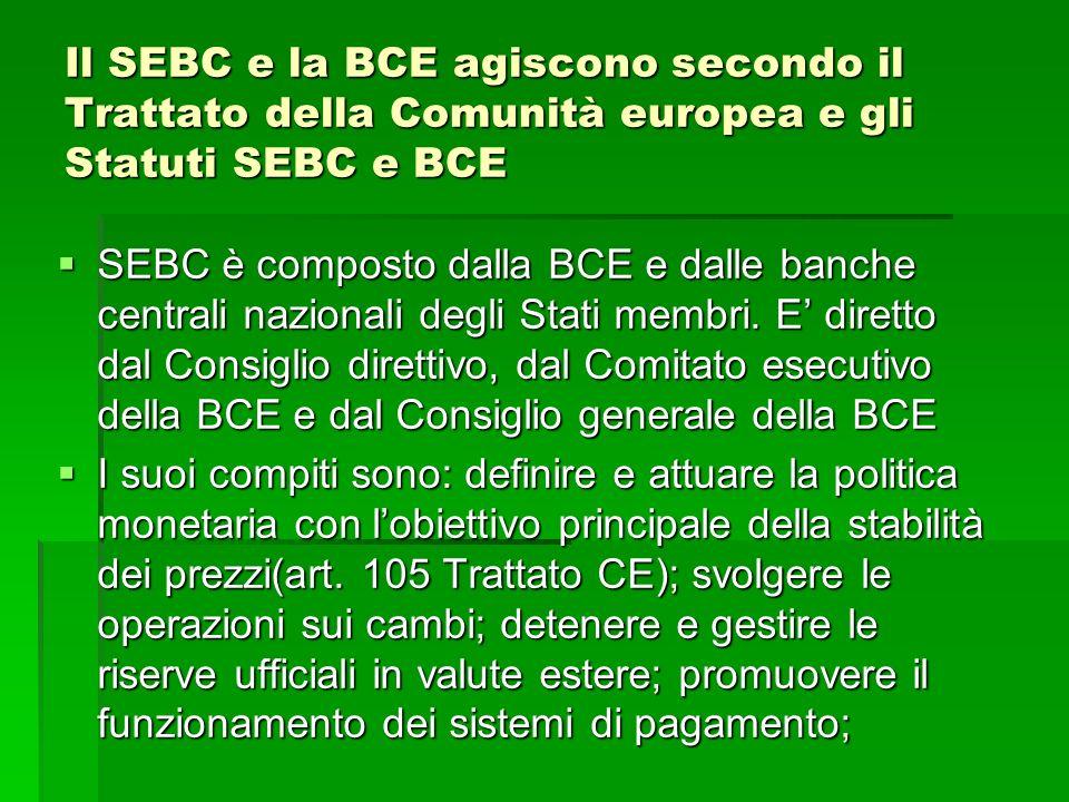 Il SEBC e la BCE agiscono secondo il Trattato della Comunità europea e gli Statuti SEBC e BCE SEBC è composto dalla BCE e dalle banche centrali nazion
