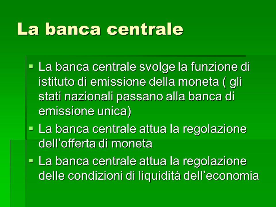 I canali della moneta I canali attraverso i quali la moneta viene immessa nel sistema economico o viene ritirata sono: Il canale del Tesoro (La Banca dItalia garantiva il collocamento di tutti i titoli di stato emessi dal Tesoro- divorzio) Il canale del Tesoro (La Banca dItalia garantiva il collocamento di tutti i titoli di stato emessi dal Tesoro- divorzio) Il canale delle Banche ( principale canale con operazioni tra banca centrale e le banche: risconto, anticipazione su titoli e pronti contro termine) TUS Il canale delle Banche ( principale canale con operazioni tra banca centrale e le banche: risconto, anticipazione su titoli e pronti contro termine) TUS Il canale estero ( acquisto e vendita di valute estere) Il canale estero ( acquisto e vendita di valute estere)