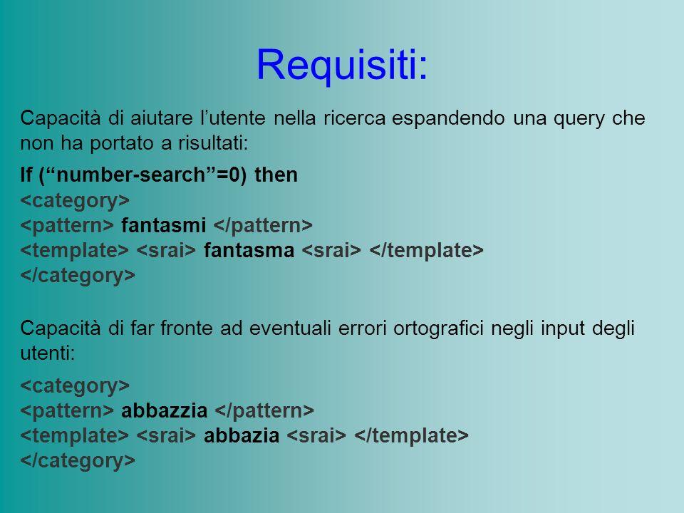 Requisiti: Capacità di aiutare lutente nella ricerca espandendo una query che non ha portato a risultati: If (number-search=0) then fantasmi fantasma Capacità di far fronte ad eventuali errori ortografici negli input degli utenti: abbazzia abbazia
