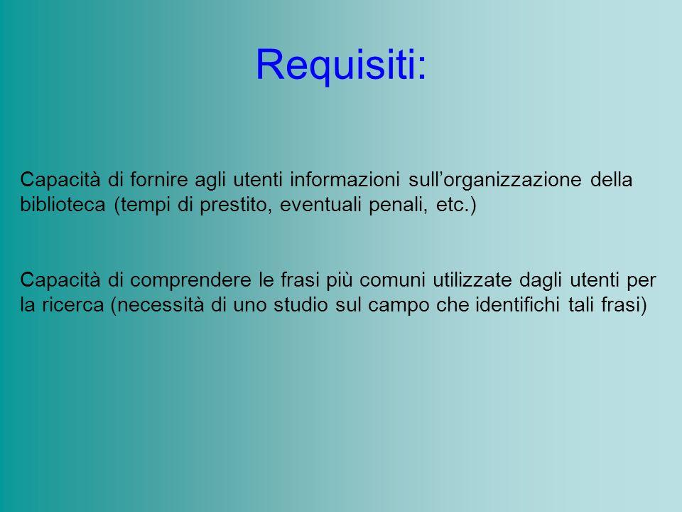 Requisiti: Capacità di fornire agli utenti informazioni sullorganizzazione della biblioteca (tempi di prestito, eventuali penali, etc.) Capacità di co