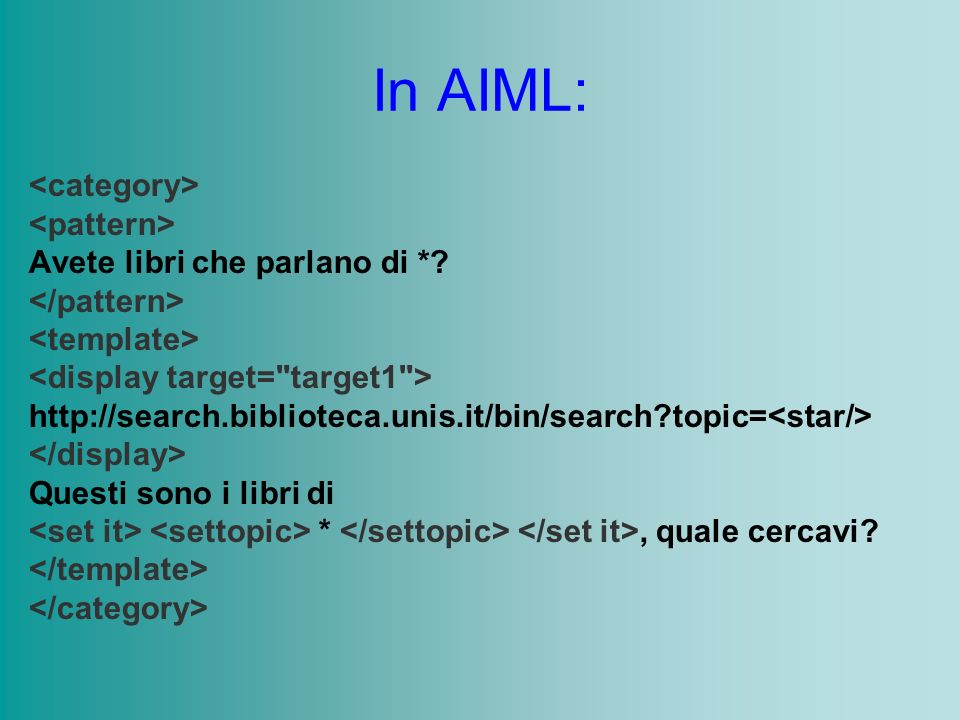 In AIML: Avete libri che parlano di *? http://search.biblioteca.unis.it/bin/search?topic= Questi sono i libri di *, quale cercavi?