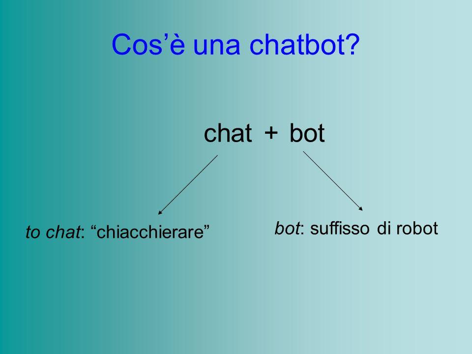 Cosè una chatbot? chatbot+ to chat: chiacchierare bot: suffisso di robot
