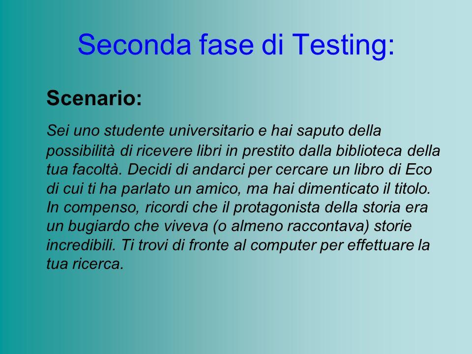 Seconda fase di Testing: Scenario: Sei uno studente universitario e hai saputo della possibilità di ricevere libri in prestito dalla biblioteca della