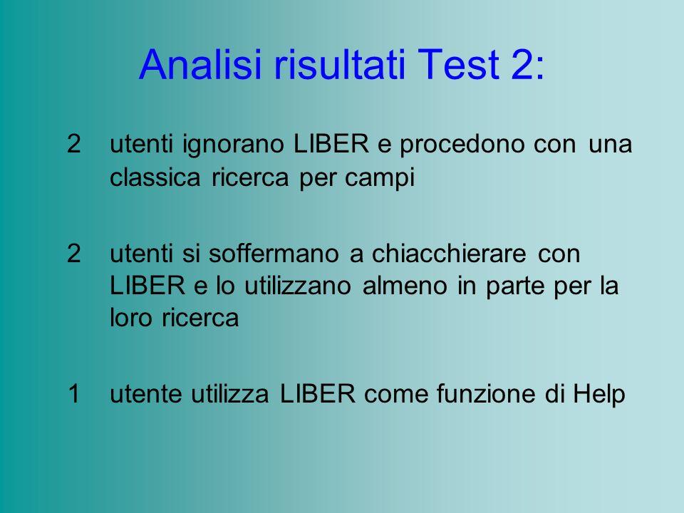 Analisi risultati Test 2: 2 utenti ignorano LIBER e procedono con una classica ricerca per campi 2 utenti si soffermano a chiacchierare con LIBER e lo utilizzano almeno in parte per la loro ricerca 1 utente utilizza LIBER come funzione di Help