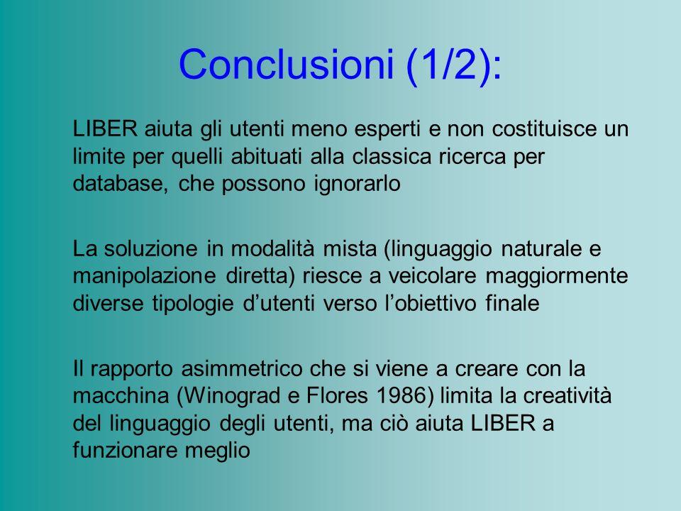 Conclusioni (1/2): LIBER aiuta gli utenti meno esperti e non costituisce un limite per quelli abituati alla classica ricerca per database, che possono
