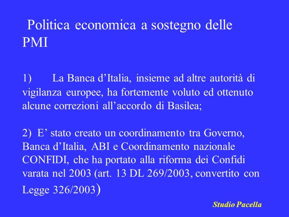 Studio Pacella Politica economica a sostegno delle PMI 1) La Banca dItalia, insieme ad altre autorità di vigilanza europee, ha fortemente voluto ed ot