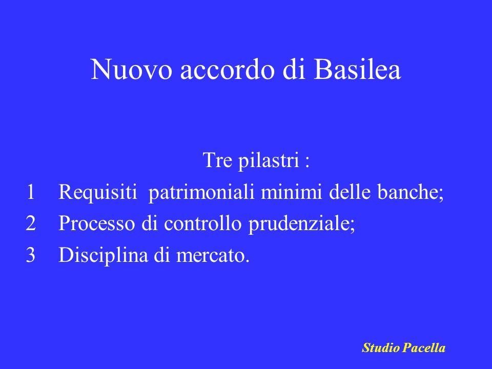 Nuovo accordo di Basilea Tre pilastri : 1 Requisiti patrimoniali minimi delle banche; 2 Processo di controllo prudenziale; 3 Disciplina di mercato. St