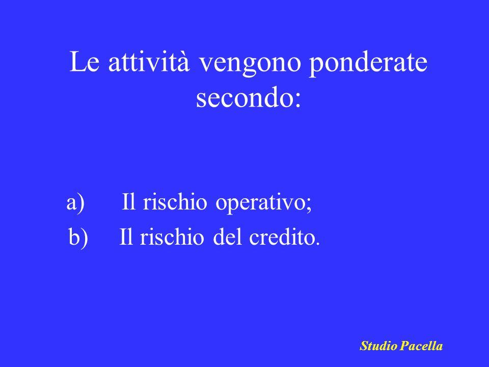 Le attività vengono ponderate secondo: a) Il rischio operativo; b) Il rischio del credito. Studio Pacella