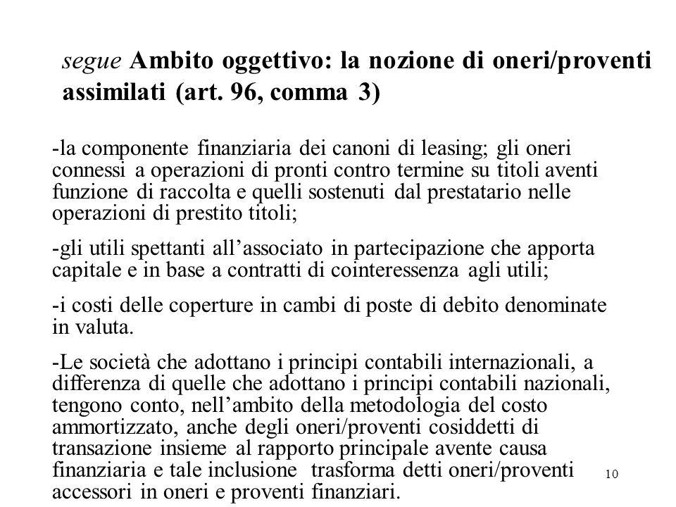 10 segue Ambito oggettivo: la nozione di oneri/proventi assimilati (art. 96, comma 3) -la componente finanziaria dei canoni di leasing; gli oneri conn