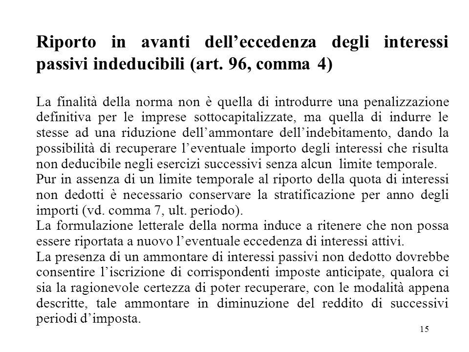 15 Riporto in avanti delleccedenza degli interessi passivi indeducibili (art. 96, comma 4) La finalità della norma non è quella di introdurre una pena