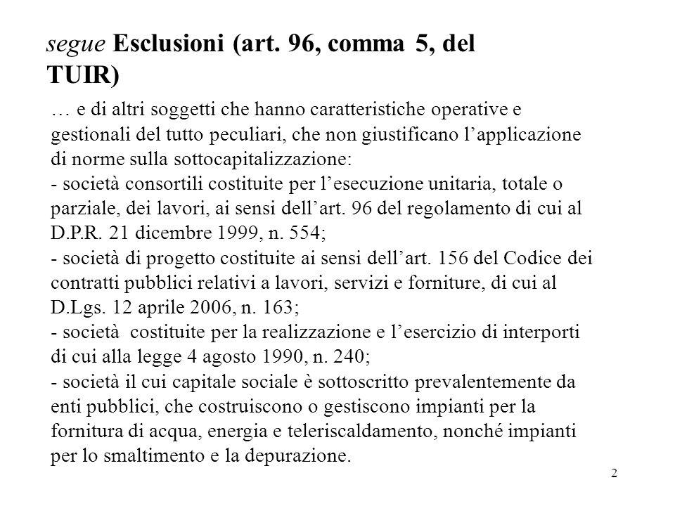 2 segue Esclusioni (art. 96, comma 5, del TUIR) … e di altri soggetti che hanno caratteristiche operative e gestionali del tutto peculiari, che non gi