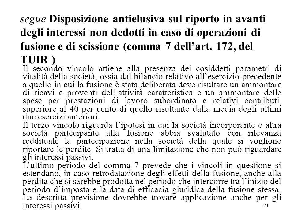 21 segue Disposizione antielusiva sul riporto in avanti degli interessi non dedotti in caso di operazioni di fusione e di scissione (comma 7 dellart.