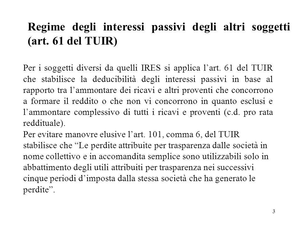 3 Regime degli interessi passivi degli altri soggetti (art. 61 del TUIR) Per i soggetti diversi da quelli IRES si applica lart. 61 del TUIR che stabil