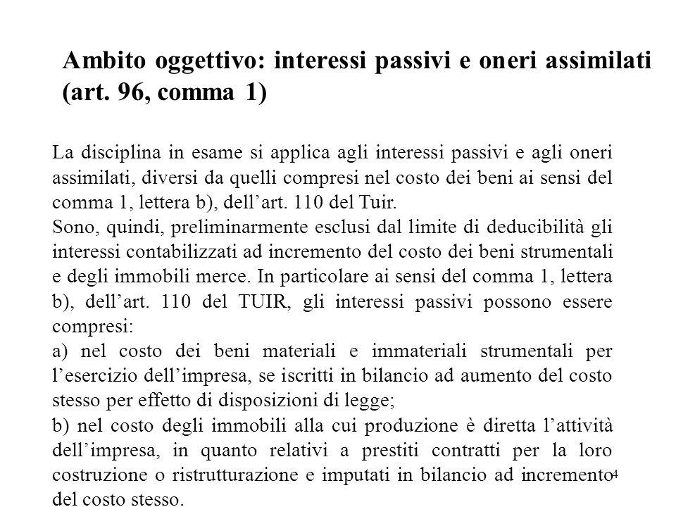 4 Ambito oggettivo: interessi passivi e oneri assimilati (art. 96, comma 1) La disciplina in esame si applica agli interessi passivi e agli oneri assi