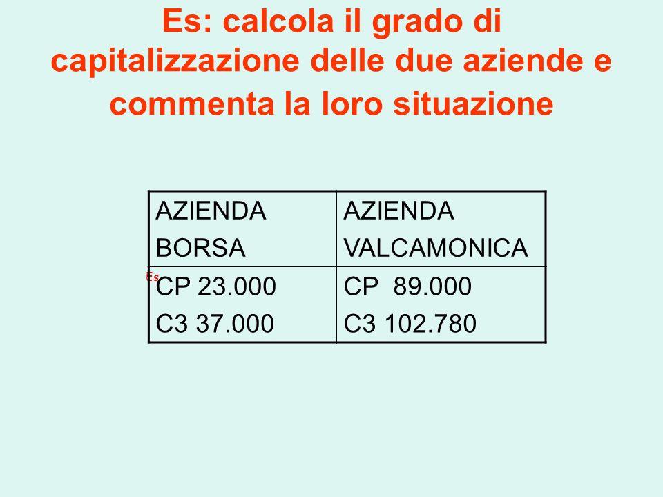 Es: calcola il grado di capitalizzazione delle due aziende e commenta la loro situazione Es AZIENDA BORSA AZIENDA VALCAMONICA CP 23.000 C3 37.000 CP 89.000 C3 102.780