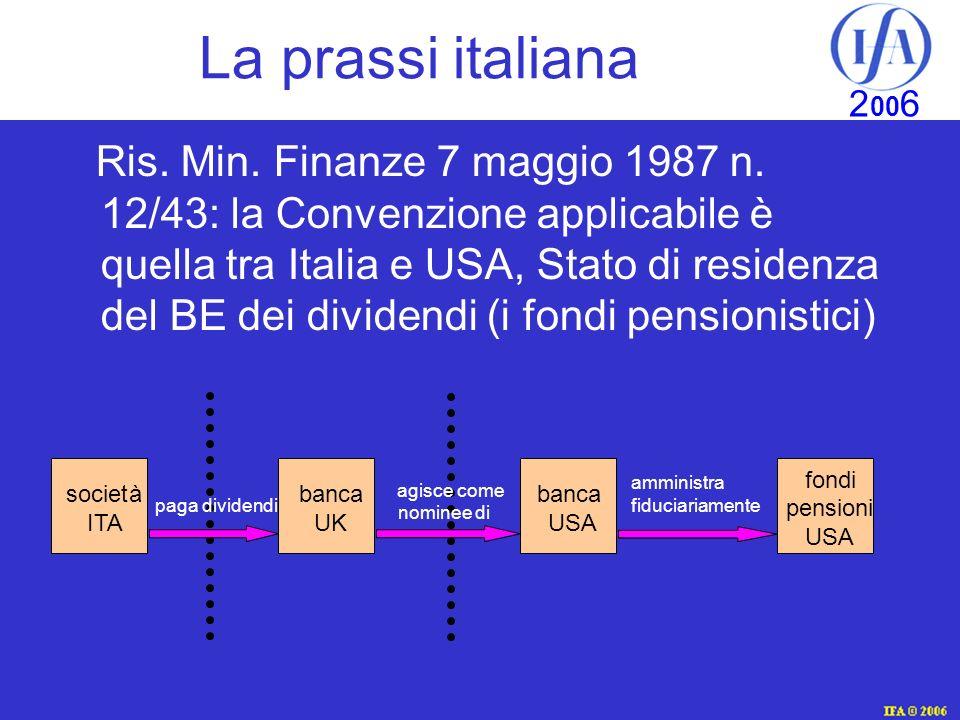 IFA © 2003 2 00 6 La prassi italiana Ris.Min. Finanze 7 maggio 1987 n.