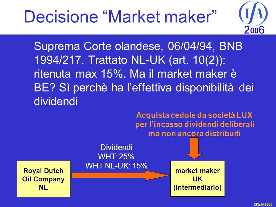 IFA © 2003 2 00 6 Decisione Market maker Suprema Corte olandese, 06/04/94, BNB 1994/217.
