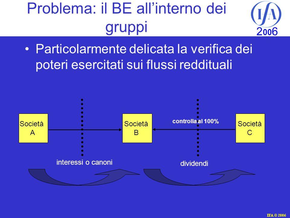 IFA © 2003 2 00 6 Problema: il BE allinterno dei gruppi Particolarmente delicata la verifica dei poteri esercitati sui flussi reddituali Società A Società C controlla al 100% dividendi interessi o canoni Società B