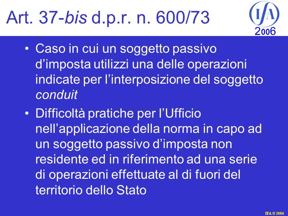 IFA © 2003 2 00 6 Art.37-bis d.p.r. n.