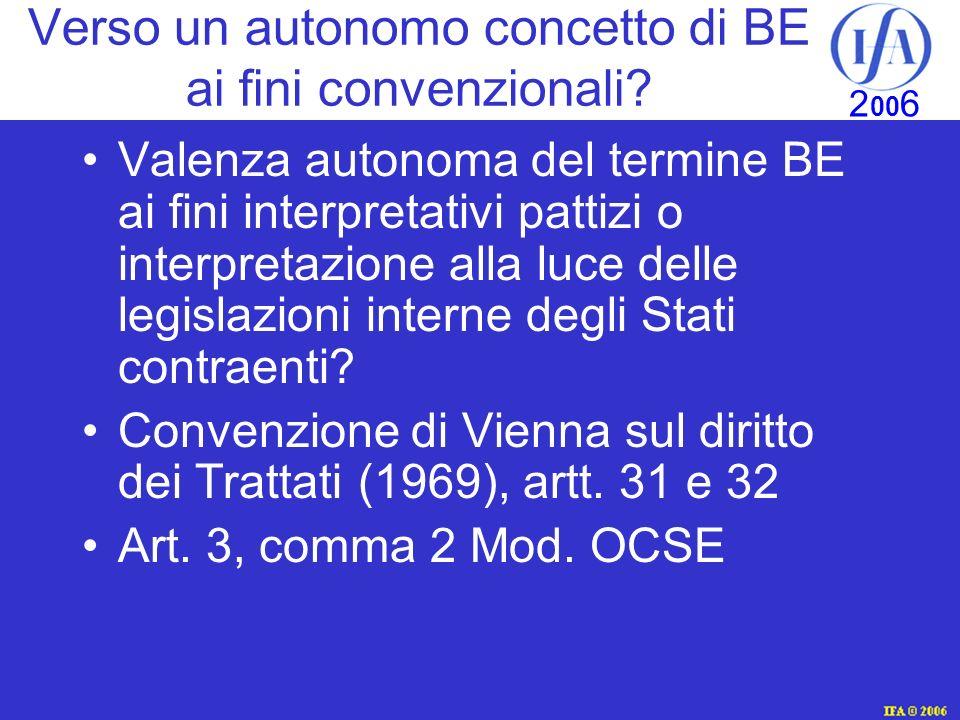 IFA © 2003 2 00 6 Verso un autonomo concetto di BE ai fini convenzionali.
