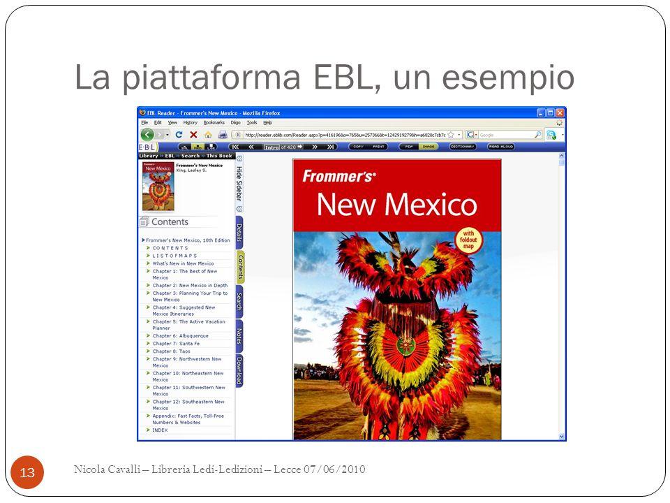 La piattaforma EBL, un esempio Nicola Cavalli – Libreria Ledi-Ledizioni – Lecce 07/06/2010 13