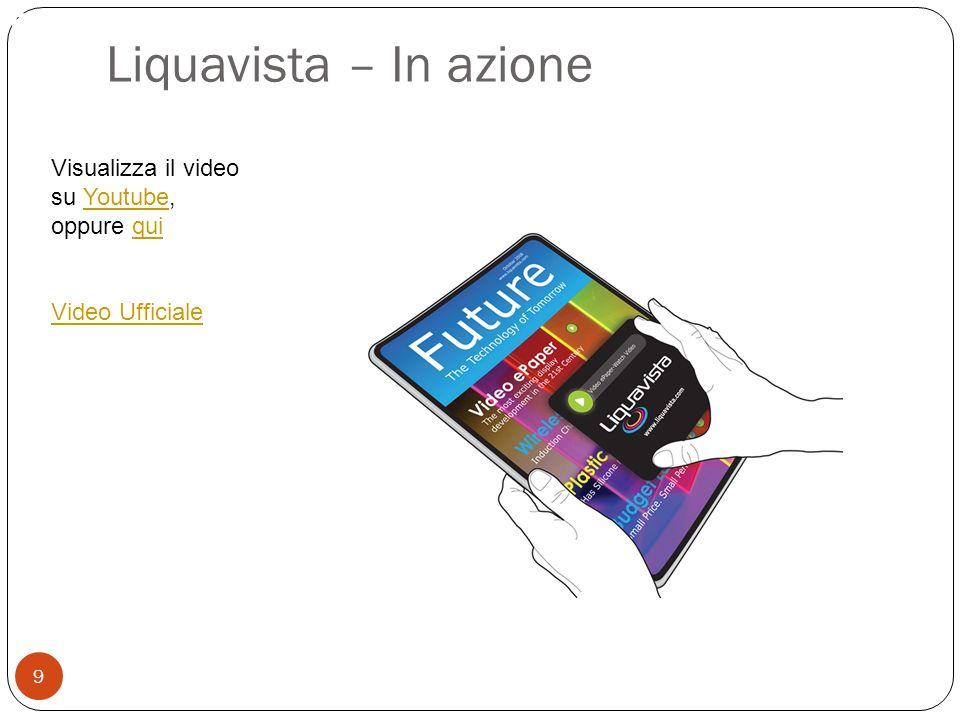 Permette la ricerca testuale 9 Liquavista – In azione Visualizza il video su Youtube, oppure quiYoutubequi Video Ufficiale