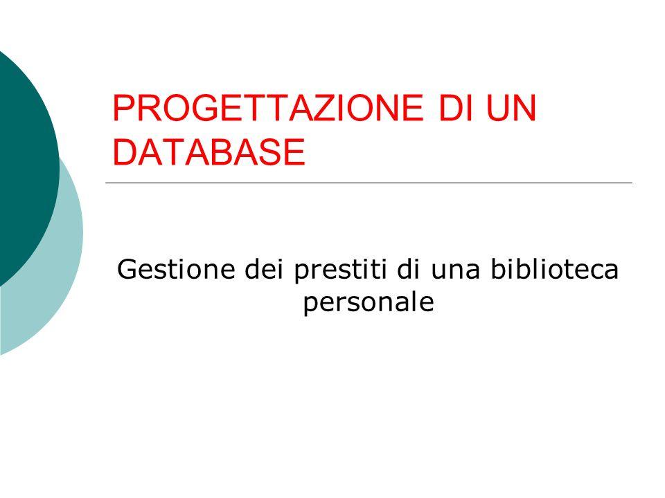ANALISI DEI REQUISITI Si vuole progettare un database per la gestione dei prestiti di una biblioteca personale.