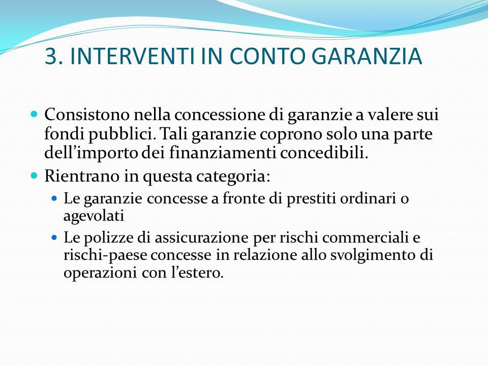 3. INTERVENTI IN CONTO GARANZIA Consistono nella concessione di garanzie a valere sui fondi pubblici. Tali garanzie coprono solo una parte dellimporto