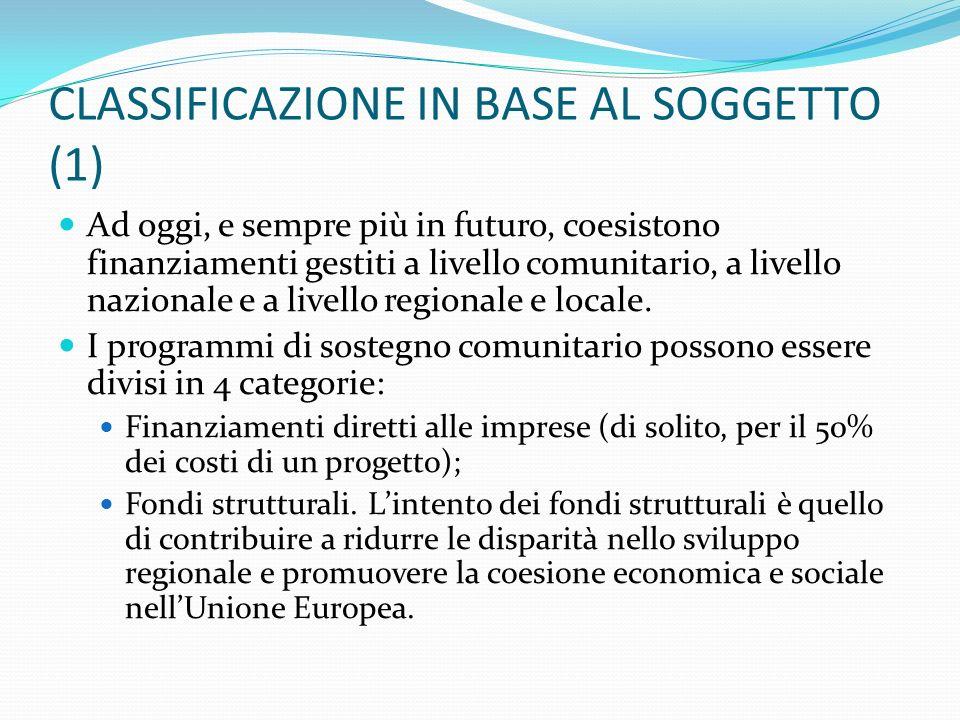 CLASSIFICAZIONE IN BASE AL SOGGETTO (1) Ad oggi, e sempre più in futuro, coesistono finanziamenti gestiti a livello comunitario, a livello nazionale e