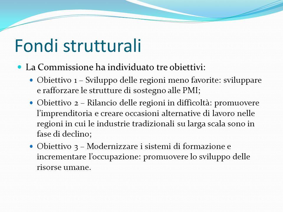 Fondi strutturali La Commissione ha individuato tre obiettivi: Obiettivo 1 – Sviluppo delle regioni meno favorite: sviluppare e rafforzare le struttur