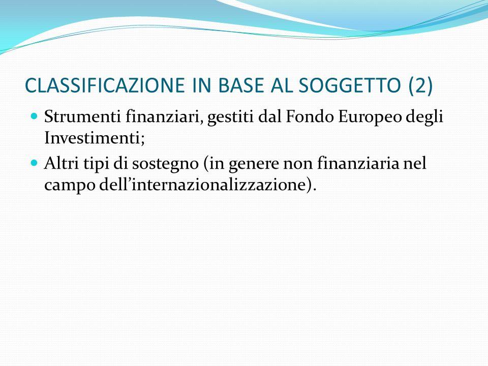 CLASSIFICAZIONE IN BASE AL SOGGETTO (2) Strumenti finanziari, gestiti dal Fondo Europeo degli Investimenti; Altri tipi di sostegno (in genere non fina