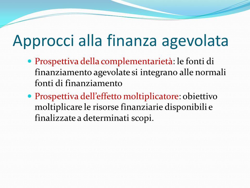 Approcci alla finanza agevolata Prospettiva della complementarietà: le fonti di finanziamento agevolate si integrano alle normali fonti di finanziamen