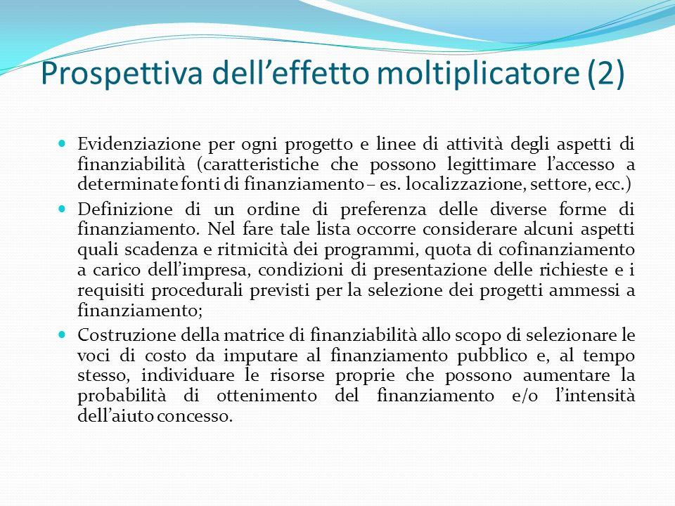 Prospettiva delleffetto moltiplicatore (2) Evidenziazione per ogni progetto e linee di attività degli aspetti di finanziabilità (caratteristiche che p