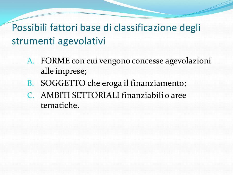 Possibili fattori base di classificazione degli strumenti agevolativi A. FORME con cui vengono concesse agevolazioni alle imprese; B. SOGGETTO che ero