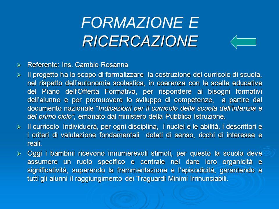 RICERCAZIONE FORMAZIONE E RICERCAZIONE Referente: Ins.