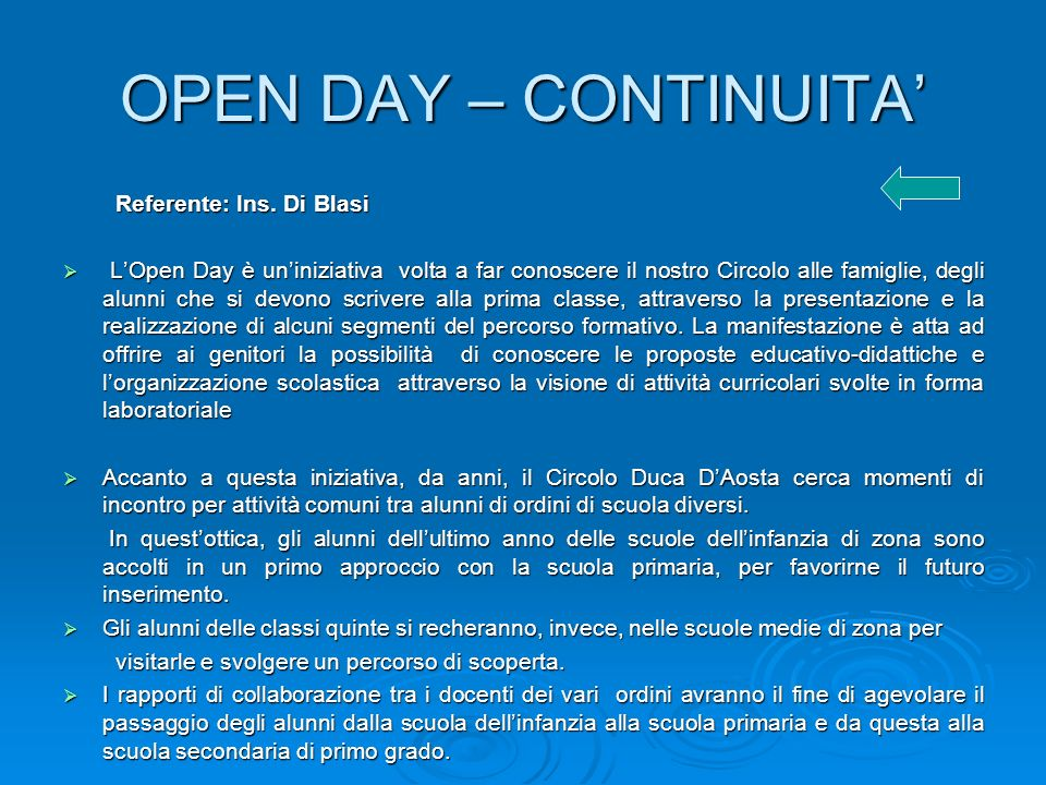 OPEN DAY – CONTINUITA Referente: Ins.