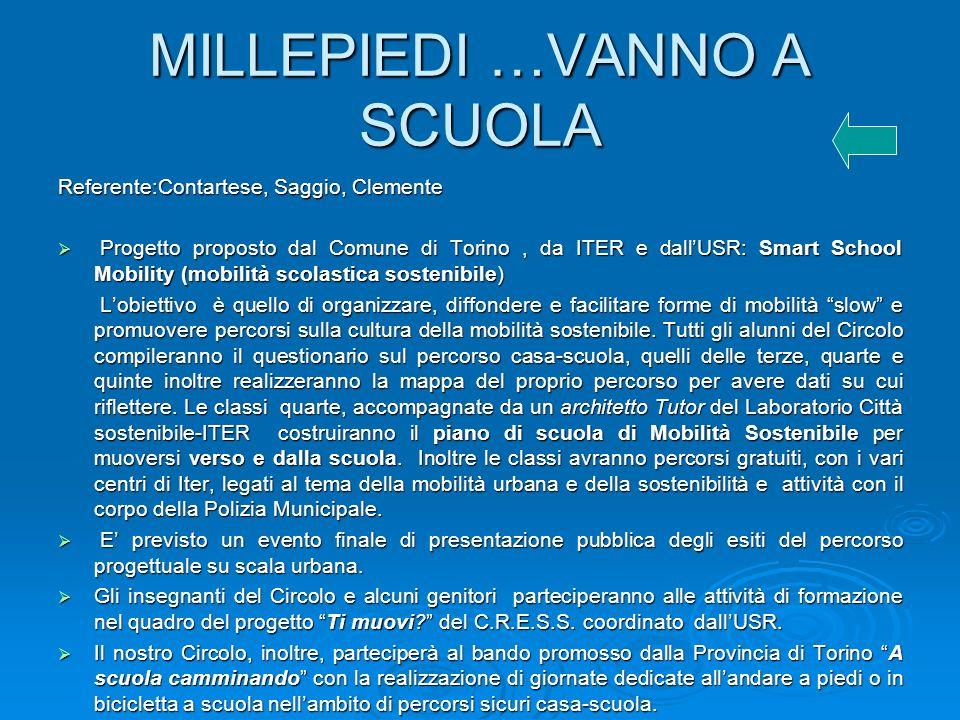 MILLEPIEDI …VANNO A SCUOLA Referente:Contartese, Saggio, Clemente Progetto proposto dal Comune di Torino, da ITER e dallUSR: Smart School Mobility (mo