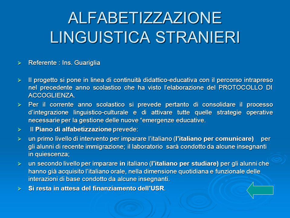 ALFABETIZZAZIONE LINGUISTICA STRANIERI Referente : Ins.