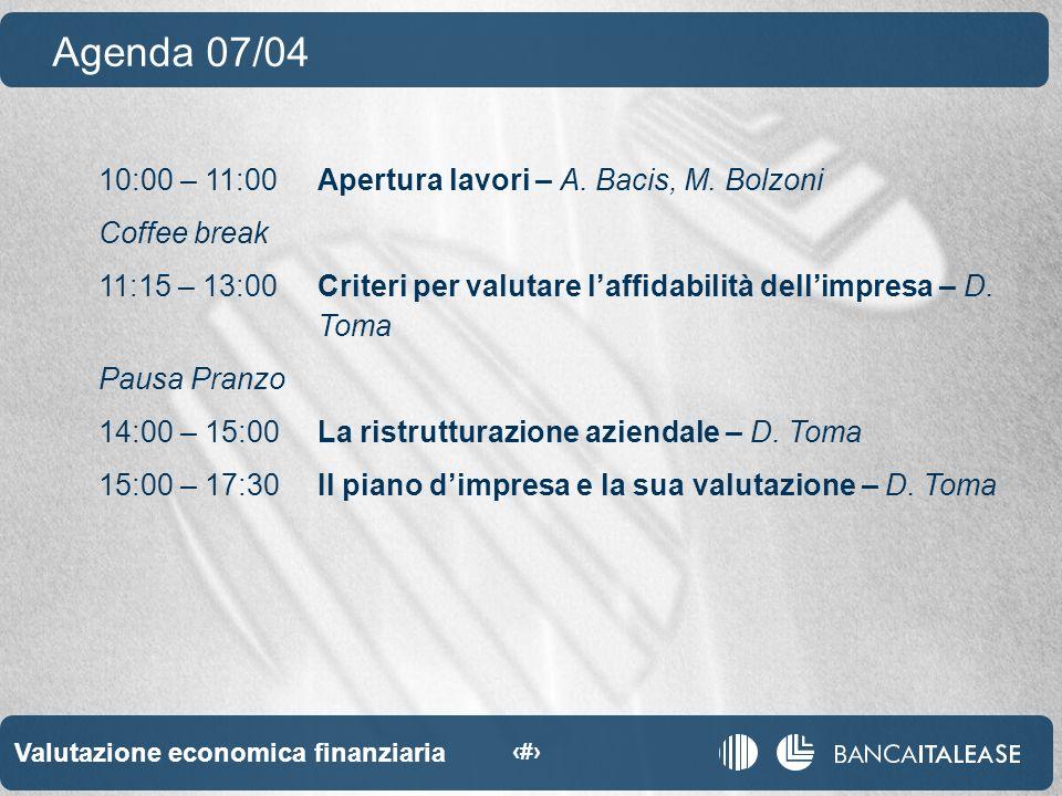 Valutazione economica finanziaria 2 10:00 – 11:00Apertura lavori – A.