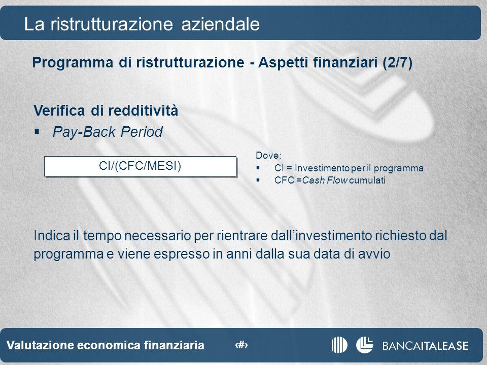 Valutazione economica finanziaria 37 CI/(CFC/MESI) Programma di ristrutturazione - Aspetti finanziari (2/7) La ristrutturazione aziendale Verifica di redditività Pay-Back Period Indica il tempo necessario per rientrare dallinvestimento richiesto dal programma e viene espresso in anni dalla sua data di avvio Dove: CI = Investimento per il programma CFC =Cash Flow cumulati