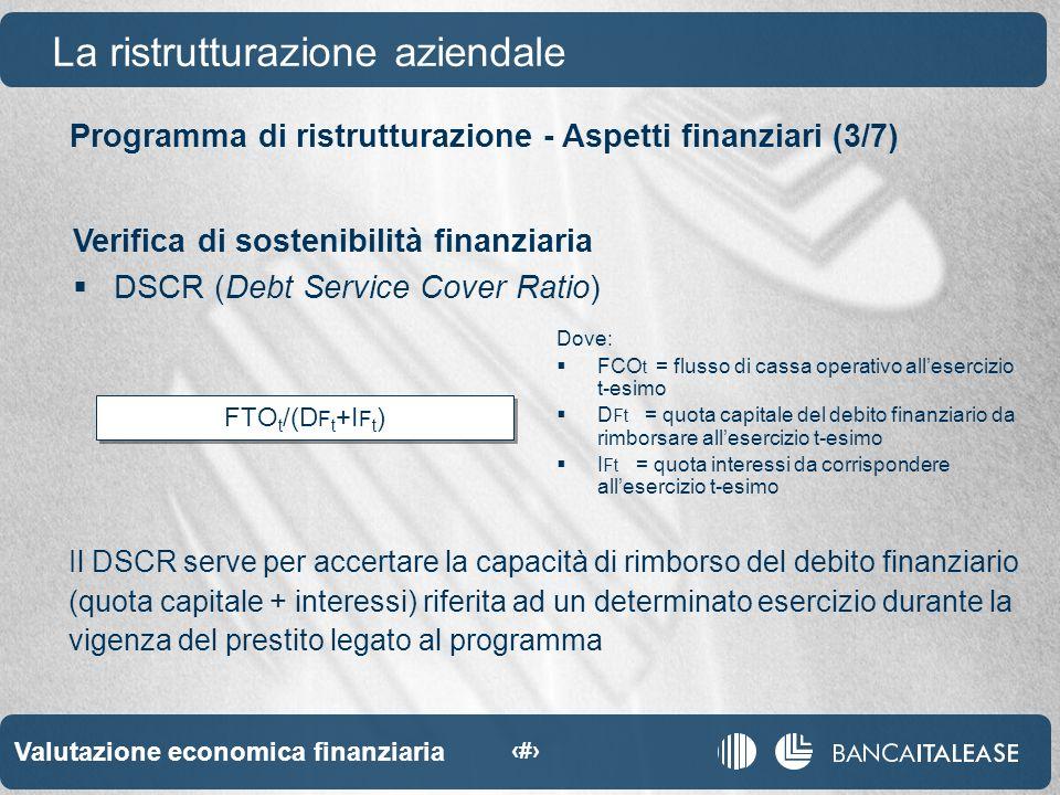 Valutazione economica finanziaria 38 FTO t /(D F t +I F t ) Programma di ristrutturazione - Aspetti finanziari (3/7) La ristrutturazione aziendale Verifica di sostenibilità finanziaria DSCR (Debt Service Cover Ratio) Il DSCR serve per accertare la capacità di rimborso del debito finanziario (quota capitale + interessi) riferita ad un determinato esercizio durante la vigenza del prestito legato al programma Dove: FCO t = flusso di cassa operativo allesercizio t-esimo D Ft = quota capitale del debito finanziario da rimborsare allesercizio t-esimo I Ft = quota interessi da corrispondere allesercizio t-esimo