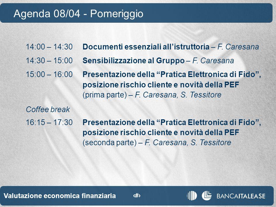 Valutazione economica finanziaria 4 14:00 – 14:30Documenti essenziali allistruttoria – F.