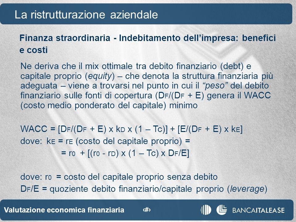 Valutazione economica finanziaria 46 La ristrutturazione aziendale Ne deriva che il mix ottimale tra debito finanziario (debt) e capitale proprio (equity) – che denota la struttura finanziaria più adeguata – viene a trovarsi nel punto in cui il peso del debito finanziario sulle fonti di copertura (D F /(D F + E) genera il WACC (costo medio ponderato del capitale) minimo WACC = [D F /(D F + E) x k D x (1 – Tc)] + [E/(D F + E) x k E ] dove:k E = r E (costo del capitale proprio) = = r 0 + [(r 0 - r D ) x (1 – Tc) x D F /E] dove: r 0 = costo del capitale proprio senza debito D F /E = quoziente debito finanziario/capitale proprio (leverage) Finanza straordinaria - Indebitamento dellimpresa: benefici e costi